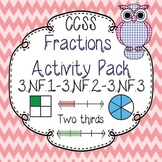 Third Grade Common Core Fractions Game Pack 3.NF.1, 3.NF.2