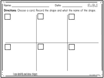 Third Grade Common Core Geometry Math Stations