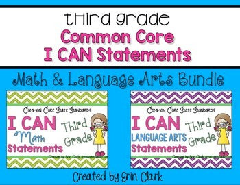 Third Grade Common Core I CAN Statements BUNDLE! {Math & E