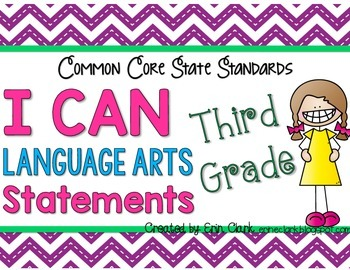 Third Grade Common Core I CAN Statements {Language Arts/Writing}