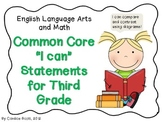 "Third Grade Common Core ""I Can"" Statement"