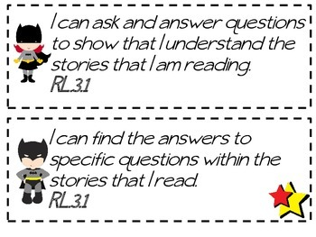 Third Grade Common Core I Can Statements -Justice League Themed