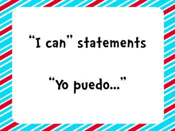 Third Grade Common Core I Can Statements in Spanish ~ Dr. Seuss