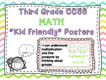 """Third Grade Common Core Illustrated """"Kid-Friendly"""" Posters- MATH"""