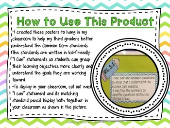 """Third Grade Common Core Illustrated """"Kid-Friendly"""" Posters- Reading: Literature"""