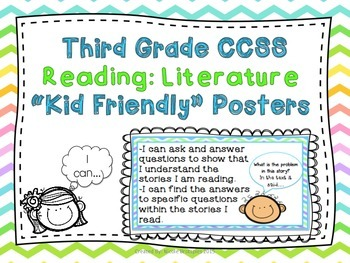 """Third Grade Common Core Illustrated """"Kid-Friendly"""" Posters"""