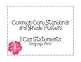 Third Grade Common Core Language Arts Posters-Plain