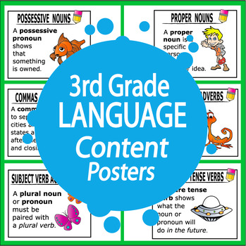3rd Grade Language Content Posters (49 FULL COLOR Posters!)