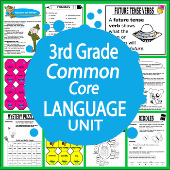 3rd Grade LANGUAGE Unit (16 Grammar Lessons, 4 Games, 49 FULL COLOR Posters)