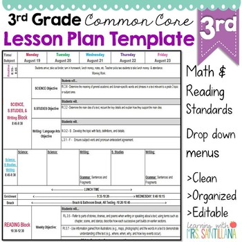 Third Grade Common Core Lesson Plan Template By Math Tech Connections - Common core lesson plan templates