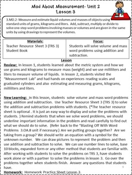 Third Grade Common Core Math-3.MD.2-Mass and Volume