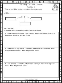 Third Grade Common Core Math 3.OA.2, 3 and 4-Division and Word Problems