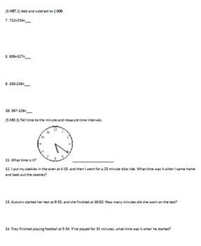 Third Grade Common Core Math Assessment 2