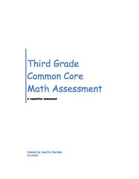 Third Grade Common Core Math Assessment (all standards) 96 questions