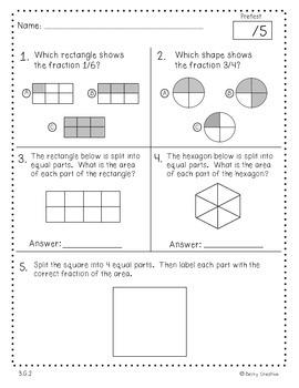 Third Grade Common Core Math Assessment ~ 3.G.2