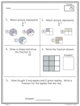 Third Grade Common Core Math Assessment ~ 3.NF1, 3.NF.2, 3.NF.3