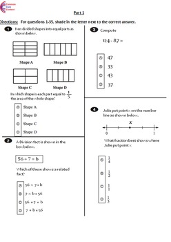 3rd Grade Common Core Math ASSESSMENTS  2 Tests - Form A and B - Third Grade