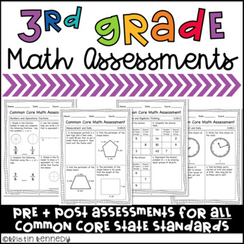 Third Grade Common Core Math Assessments (Pre and Post for ALL Standards)