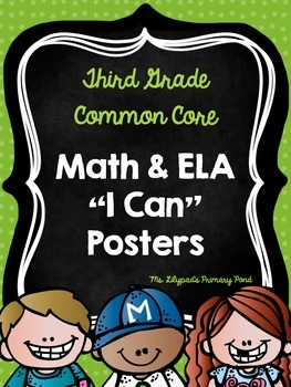 "Common Core ""I Can"" Statements Posters for Third Grade {EL"