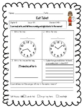 Third Grade Common Core Math Exit Tickets: Go Math! Chapter 10