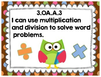 "Third Grade Common Core Math ""I Can"" Posters {Owl and Chocolate Dots Theme}"