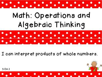 """Third Grade Common Core Math """"I Can"""" Statements"""