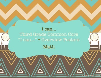 "Third Grade Common Core Math ""I can..."" Posters Chevron Native Design"