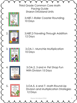 Third Grade Common Core Math Pacing Guide