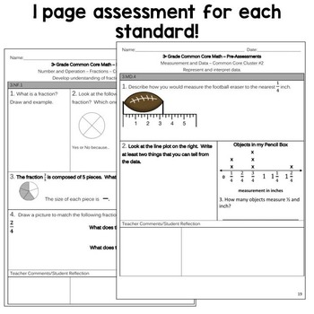 Third Grade Common Core Math - Pre-Assessments & Small Group Sheets