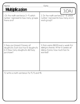 Third Grade Common Core Math-Pre and Post