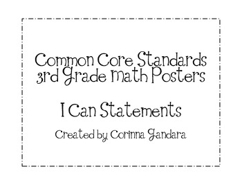 Third Grade Common Core Math Standards Posters-Plain