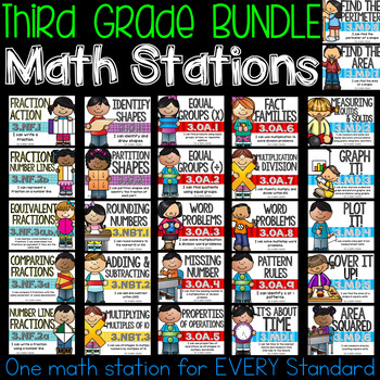 Third Grade Common Core Math Stations BUNDLE