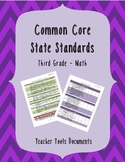 Third Grade Common Core Math Teacher Documents