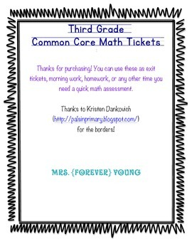 Third Grade Common Core Math Tickets