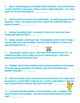 Third Grade Common Core Math Word Problems