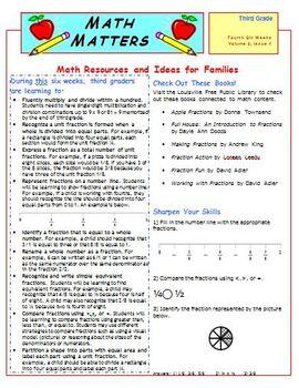 Third Grade Common Core Mathematics Newsletters