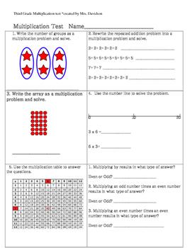 Third Grade Common Core Multiplication Test