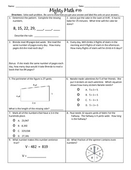 Third Grade Spiral Math Review / Test Prep - CCSS Aligned (2nd Edition)