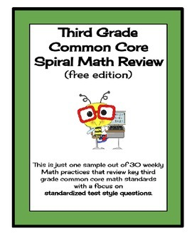 FREEBIE!!  Third Grade Common Core Spiral Math Review / Test Prep