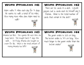 Third Grade Word Problem Task Cards