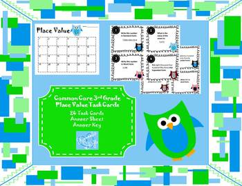 Third Grade Common Core Place Value Task Cards