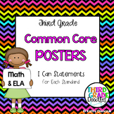 Common Core Posters {Editable} -- Third Grade I Can Statements for Math & ELA