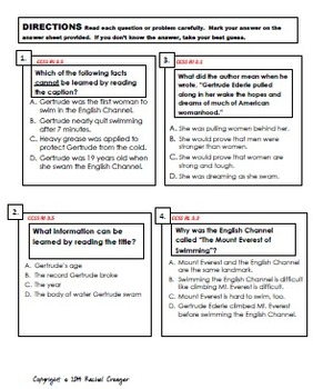 Third Grade Common Core Reading Assessment- Gertrude Ederle