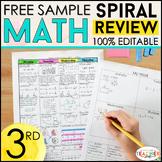 3rd Grade Math Spiral Review   2 Weeks FREE