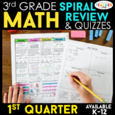 3rd Grade Math Review | Homework or Morning Work | 1st Quarter