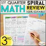 3rd Grade Math Review & Quizzes | Homework or Morning Work | 1st QUARTER
