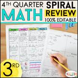3rd Grade Math Review & Quizzes   Homework or Morning Work   4th QUARTER