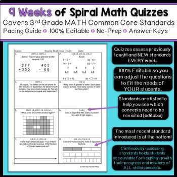 3rd Grade Math Spiral Review | 3rd Grade Math Homework 3rd Grade Morning Work