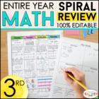 3rd Grade Math Spiral Review | 3rd Grade Math Homework or 3rd Grade Morning Work