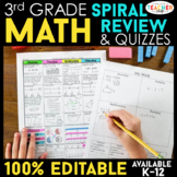 3rd Grade Math Spiral Review Distance Learning Packet | 3r